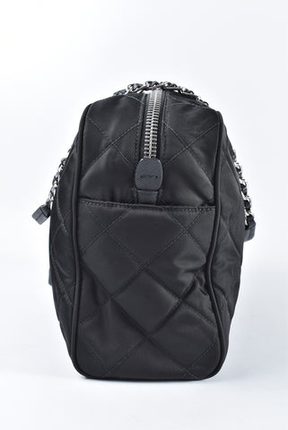 4a937f7b7862 Prada 1BB903 Black Quilted Tessuto Nylon Shoulder Bag with Chain Accents
