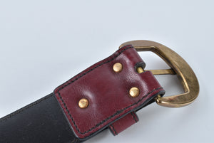 Etienne Aigner Vintage Gold Buckle Belt in Burgundy color