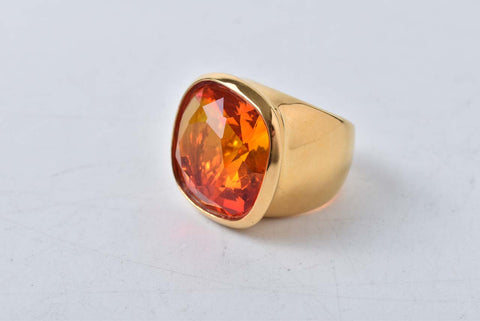 Swarovski Costume Crystal Amber/Gold Ring Small Size