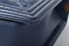 Chanel Navy Calfskin Multi Stitch Two-Tone Hardware Quilted New Medium Boy Flap