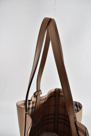 Burberry Haymarket Check Camel Brown Small Reversible Tote