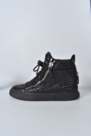 Giuseppi Zanotti Black Leather Croc Embossed Chain Strap Ladies Sneakers