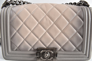 Chanel Grey Quilted Lambskin Medium Boy Bag