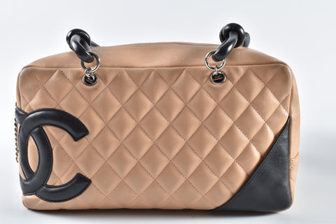 fb4cd4abb2 Chanel Cambon Medium Beige Bowler Quilted Leather Bag SHW 9355909 ...
