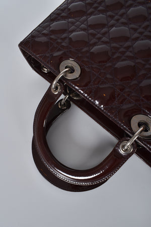 Christian Dior Burgundy Cannage Quilted Patent Leather Large Lady Dior Bag