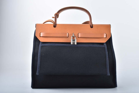 Hermes Vintage Canvas Black/Brown Herbag with Exchangeable Covers