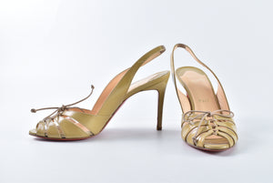 Christian Louboutin Light Khaki Patent Slingback Sandals - Size 37 1/2
