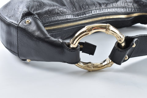 Gucci 248274 493076 Black Guccisima Hobo with Gold Bamboo Rings
