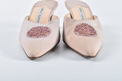 Manolo Blahnik Beaded Fabric Mules Size 37