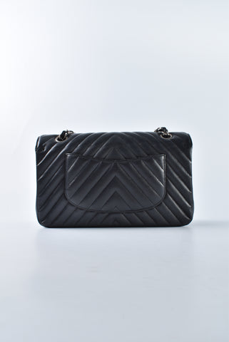 Chanel Medium Chevron Black Caviar Flap SHW 22623023 - Glampot