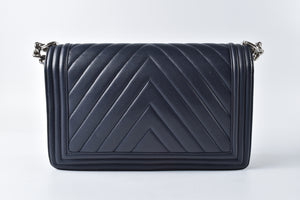 Chanel Boy Chevron Lambskin Medium Navy Blue Quilted Leather Shoulder Bag