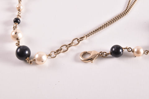 Chanel Black White Pearl Matte Light Gold Hardware CC Long Necklace - Glampot