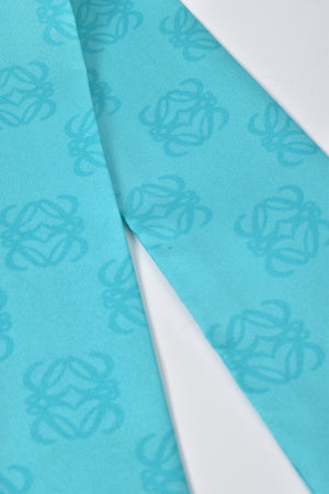 Loewe Anagram Silk Twilly in Turquoise