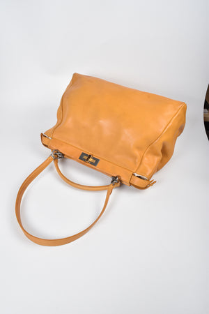 Fendi Yellow Smooth Leather Peekaboo Leopard-Lined Large Satchel Bag