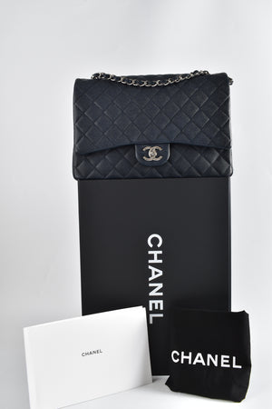 Chanel Blue Quilted Caviar Leather Classic Maxi Double Flap Bag