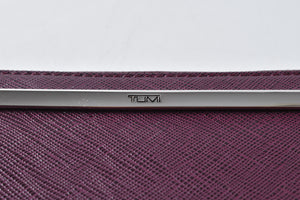 Tumi Purple Plum Zip Leather Wallet Envelope