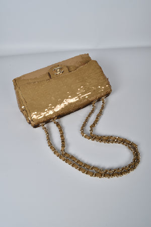Chanel Gold Sequin Medium Flap Bag