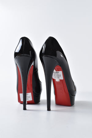 Christian Louboutin Lady Peep Toe Patent Calf Pumps in Black