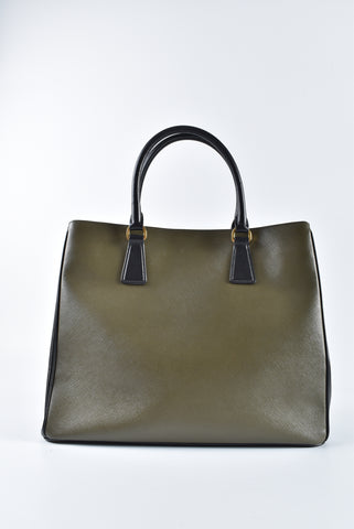 Prada Green Saffiano Top Handle Large Bag