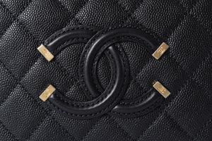 Chanel Small CC Filigree Black Caviar Vanity Case Bag GHW 25360263