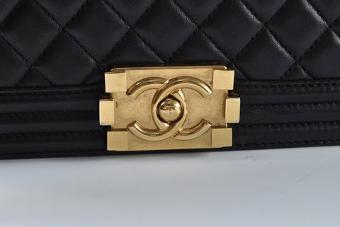 Chanel Boy Old Medium Lambskin in Black GHW - Glampot