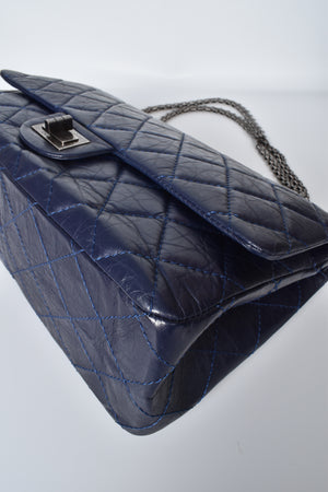 Chanel Navy Blue Reissue Quilted Classic Calfskin Leather 227 Jumbo Flap Bag RHW