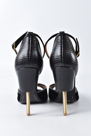 Givenchy Black Velvet and Leather Matilda Ankle Strap Heels