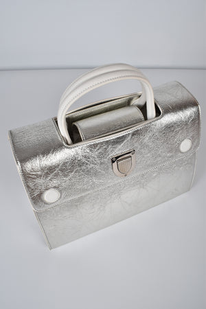 Christian Dior Silver Crinkle Leather Medium Diorever Bag