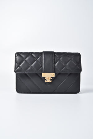 Chanel Black Lambskin Quilted Golden Class Double CC 2.0 Wallet on Chain