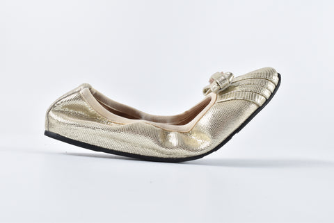 Salvatore Ferragamo My Joy Metallic Ballet Flats in Butter/Platino Size 5 1/2