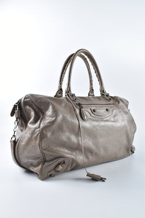 Balenciaga Greige Lambskin Leather Voyage 24H Travel Bag 272470.2525.527147 - Glampot