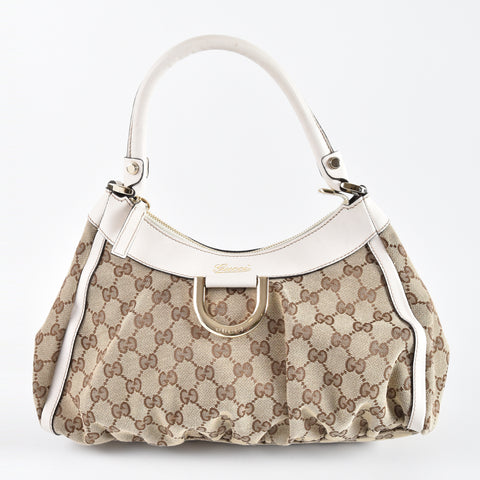 Gucci 190525 White GG Canvas Small D-Ring Hobo Bag