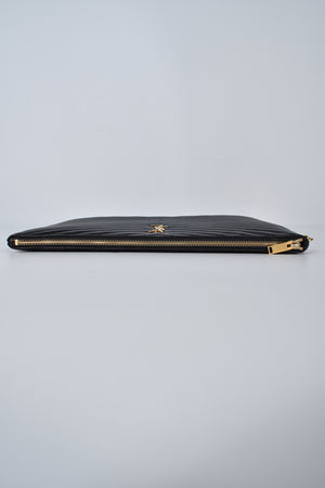 Yves Saint Laurent Monogram Document Holder in Black Matelasse Leather GHW