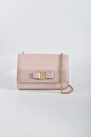 Salvatore Ferragamo Macaron Vara Perforated Bow Crossbody Bag