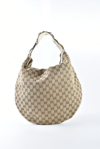 76733c816fe918 Gucci 170014 Beige/Ivory GG Canvas Horsebit Catena Hobo Bag – Glampot