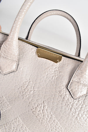 Burberry Light Grey Embossed Check Leather Dewsbury Tote Bag