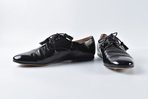 Bally Black Calf Patent Lace Up Shoes