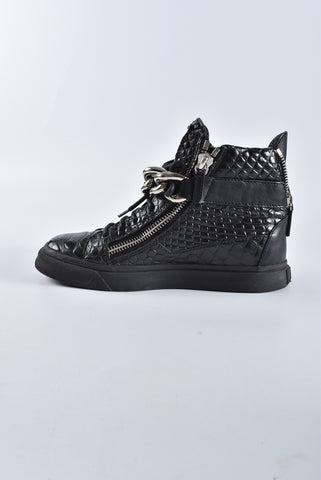 Giuseppi Zanotti Black Leather Croc Embossed Chain Strap Ladies Sneakers Size 37