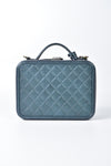 Chanel Green Iridescent Caviar Vanity Case Rainbow Filigree