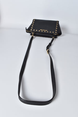 Michael Kors Selma Studded Saffiano Medium Messenger Bag in Black