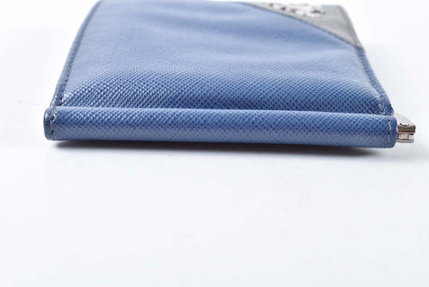 Prada Men's Saffiano Metal 2M1077 Bluette+Mercury Money Clip Wallet