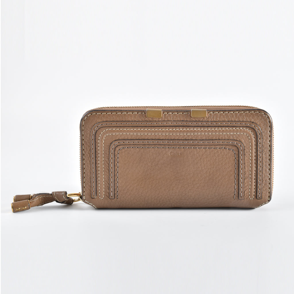 Chloé Marcie Nut Leather Long Zip Around Wallet 3P0571-161 - Glampot