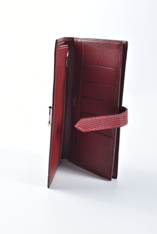 Hermes Lizard Rouge Grenat Bearn Wallet with Goatskin Interior Stamp J