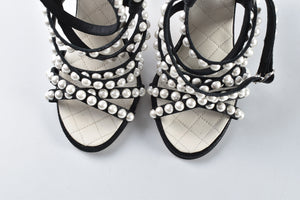 Chanel Black Crackled Lambskin Pearls Sandals SS 2018 Collection