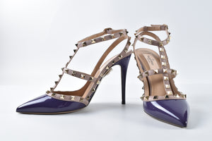 Valentino Rockstud Patent Purple/Nude Leather Heels