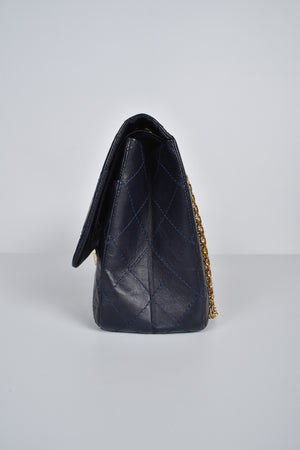 Chanel Navy Blue 2.55 Reissue 227 Quilted Classic Aged Calfskin Jumbo Double Flap GHW