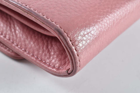 Tory Burch Mercer Chain Wallet Pink Pebbled Leather Crossbody