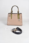 Coach Beige Leather Mixed Carryall Crossbody bag