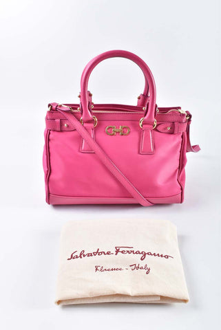 Salvatore Ferragamo Pink Small Batik Nylon Crossbody/Top Handle Bag EE21-E429