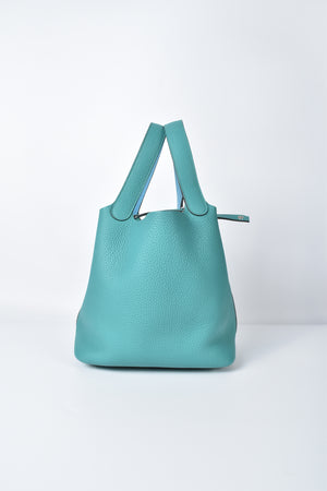 Hermes Bi-color Picotin Lock 22 Clemence in Vert Vertigo/ Swift in Blue Jean PHW
